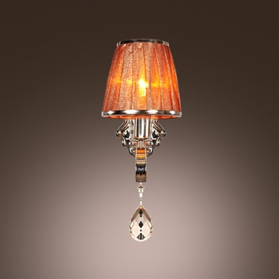 Attractive Chrome Finish and Hand-cut Teardrop Crystal Add Charm to Graceful Single Light  Wall Sconce
