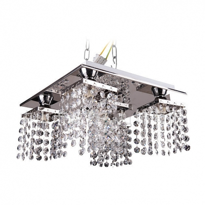 Beautiful and Function Crystal Beaded Strands Shade 5-Light Square Flush Mount