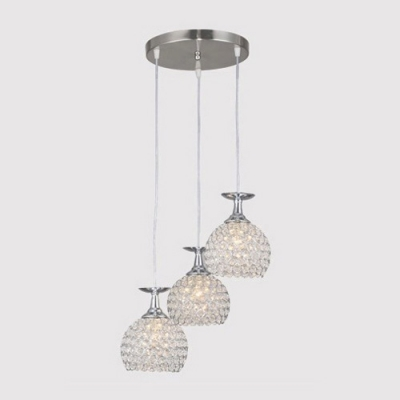 Beautiful and Shinning Crystal Beaded Bowl Design Muti-Light Pendant Light Shining in Your Home