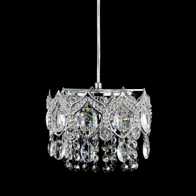 Beautiful Cleat Crystal and Gleaming Polished Chrome Finish Detailing Add Glamour to Dazzling Multi-Light Pendant