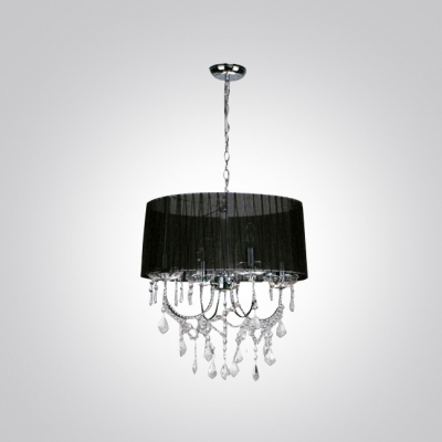 Black and Bold Sheer Shade Metal Scrolled Arms Chandelier Pendant Accented by Clear Crystals