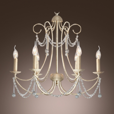 Brighten Up Your Home with Elegant Chandelier Features Graceful Curving Scrolls and Crystal Drops
