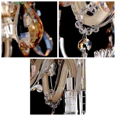 Champagne Beveled Crystal Teardrops Brilliant Design Pendant Light Chandelier