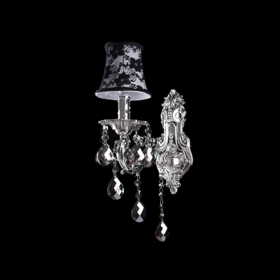 Classic and Elegant Wall Light Fixture Creating Charming Look with Mysterious Black Fabric Shade and Crystal Drops