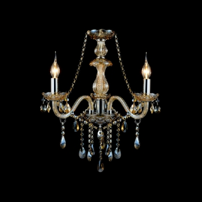 Classic and Sophisticated Crystal Chandelier Offers Sparkling Appeal Adorned with Crystal Strings