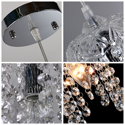 Clear Crystal Beaded Strands Foyer Mini Pendant Light in Chrome Finished