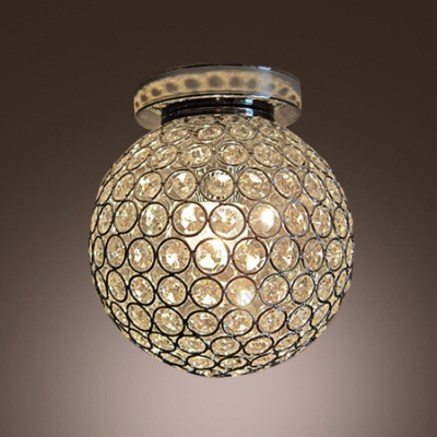 Dizzying Clear Crystal Beaded Round Shade Semi-Flush Mount Lighting