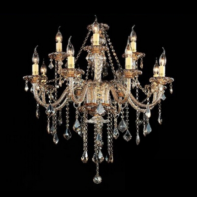 Double Tiered Glittering Clear Crystal Waterfall 12-light Chic and Elegant Chandelier
