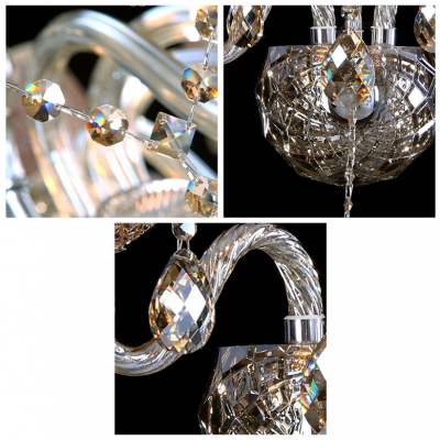 Dramatic Impressive Three Light Crystal Wall Sconce with Graceful Curving Arms