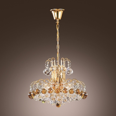 Elegant and Luxurious Gold Crystal Pendant Light Shine with Amber and Clear Crystal Balls