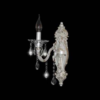 Elegant Antique White Decorative Frame Wall Sconce with Majestic Crystal Droplets