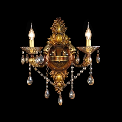 Elegant Regal Two Light Crytal Wall Sconce With Delicate Sleek Arm