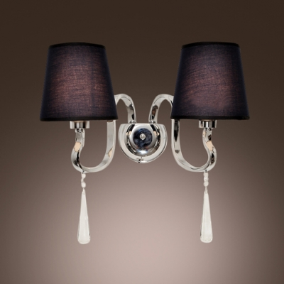 Eye-catching Two-light Wall Sconce Completed with Black Fabric Shade and Graceful Scrolls