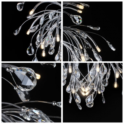 Floral Faceted Clear Crystals and Metal Branches Bold Contemporary Style Pendant Lighting