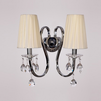 Glamorous Two Light Fabric Shades and Wrought Iron Frame Composed Wall Sconce Featuring Crystal Accents