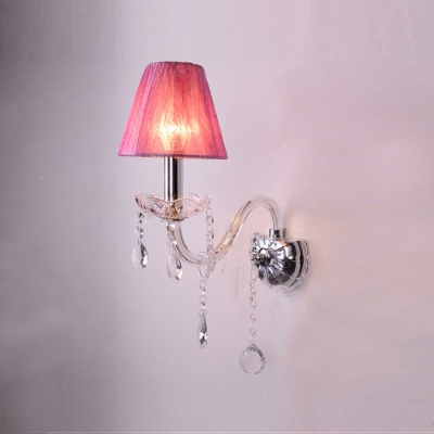 Glistening Single Light Crystal Transitional Wall Sconce with Elegant Purple Fabric Shade