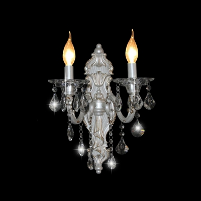 Glistening Sophisticated Two Light Wall Sconce with Sleek Strolling Arm and Beautiful Crystal Drops