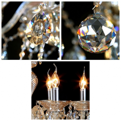 Glittering Amber Crystal Droplets Cascades 10-Light Large Captivating Chandelier