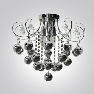 Graceful Metal Scrolls Frame Bold and Beautiful Crystal Balls Flush Mount Accented by Smoky Glass Balls