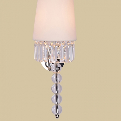 Graceful Off-white Fabric Empire Shade Adorned with Dazzling Square Crystal Add Glamour to Delightful Single Light Wall Sconce