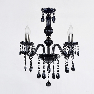Jet Black Crystal Droplets Four Candle Lights Bold and Elegant Chandelier