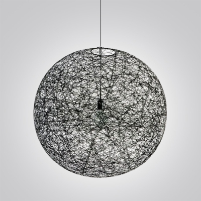 Mini Black Linen Wire Globe Suspension Pendant Light - Beautifulhalo.com