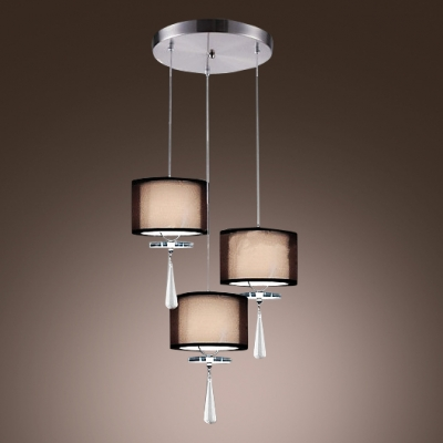 Modern Stunning Multi-light Pendant Features Round Iron Base abd Dazzling Faceted Crystal Drops Creating Sophisticated Look