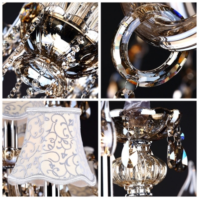 Pure Elegance Amber Crystal Chain and Droplet Chandelier Ceiling Light