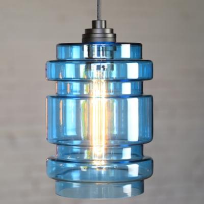 Purple/Blue Industrial Colored LOFT Glass Pendant Light