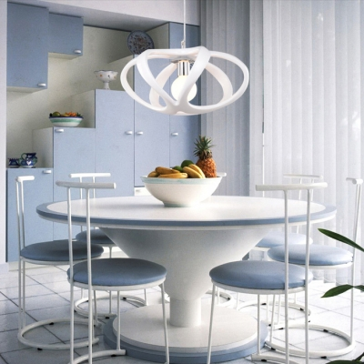 Resin Cage Carving Inner Glass Shade Pendant Light White