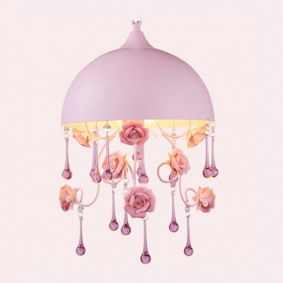 Romantic Pink Shade and Hanging Delicate Rose Motif Made Beautiful Mini Pendant Light Welcomed Addition for Feminine Room