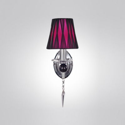 Sleek Sophisticated Ruched Fabric Shade and Faceted Crystal Drop Composed Glittering Wall Light Fixture Create Welcomed Addition