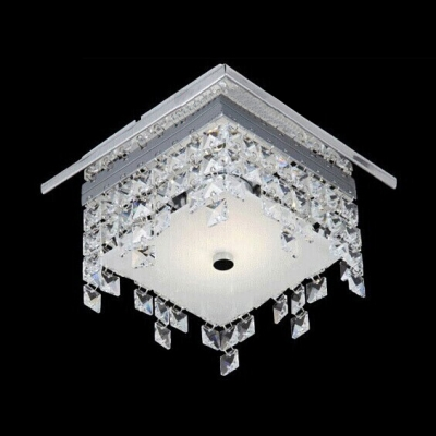 "Square Cube Sparkling Clear Crystals 7""Wide Foyer Flush Mount Ceiling Light"