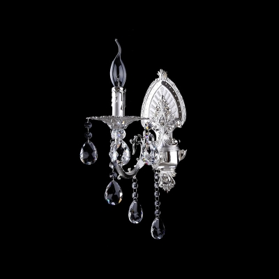 Stnning European Style Wall Sconce Completed with Delicate Silver Finish and Beautiful Crystal Drops