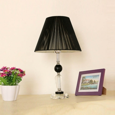 Stunning Black Silk Thread Empire Shade Add Mystery to Modern Table Lamp with Clear Crystal Center and Base