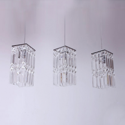 Stunning Rectangular Pendant Light Features Three Lights with Square Crystal