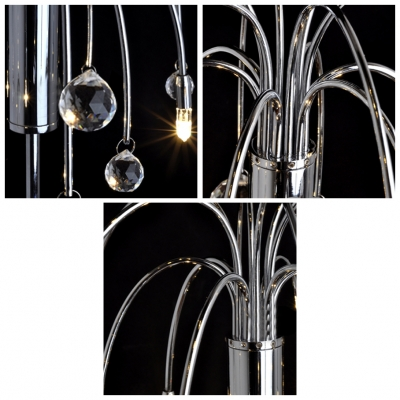 Table Lamp Features Graceful Scrolls and Crystal Beads Gives Fresh and Stylish Look