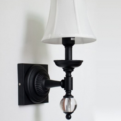 Timeless Wall Light Fixture Features Iron Frame Accented Crystal Ball and White Fabric Bell Shade