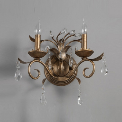 Traditional Two Light Wall Sconce with Gold Leaf  Finish and Clear Lead Crystal