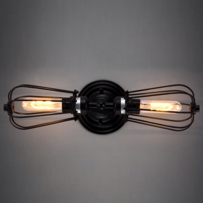 & Metal Cage LOFT LED Wall Lamp Vintage Industrial Sconce Deco Lamp ...