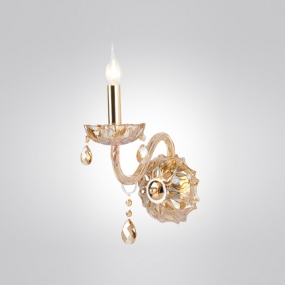 "Beautifulhalo coupon: ""Gold Finish and Elegant Crystal Drops Add Charm to Delightful One Light Wall Sconce """