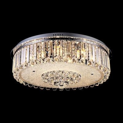"Image of ""11.8""""Wide Chrome Finished Flush Mount Light Shine with Stunning Crystals"""