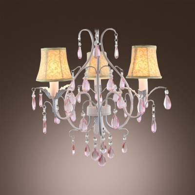 3-Light White Finished Curved Arms Romantic Pink Crystal Droplets Mini Chandelier