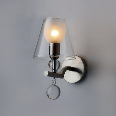 Amazing 5.5 Wide and 8.6 High Modern Wall Sconce Adorned with Clear Glass Shade and Crystal Ball