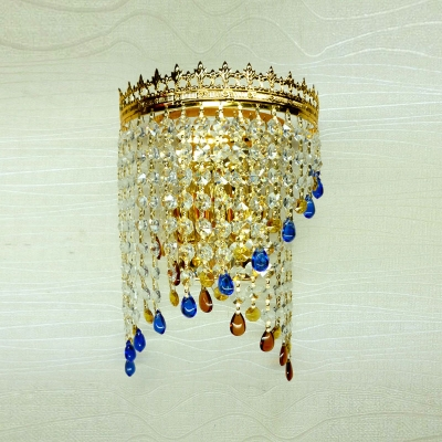 Attractive Gold-Crowned Frame Adorned with Beautiful Crystal Beads Add Elegance to Delighthful Three-light Wall Sconce