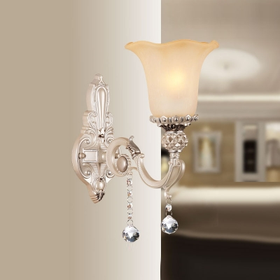 Beautiful European Style Crystal Accent Wall Sconce Adorned with White Finish Alloy Base Topped with Beautiful Glass Shade