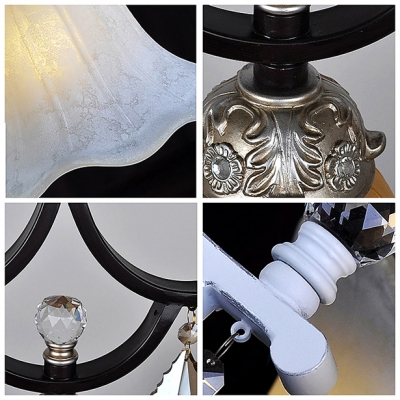 Beautiful Floral Shade Soft White Finished Mini Pendant Light Hanging Clear Crystals