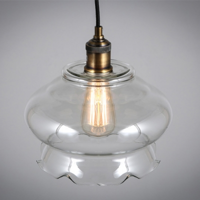 Blooming Flower Industrial  LOFT Clear Glass Pendant Light