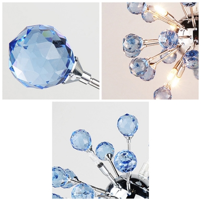 Blue Romantic Small Crystal Globes Burst Chrome and Crystal Mini Pendant