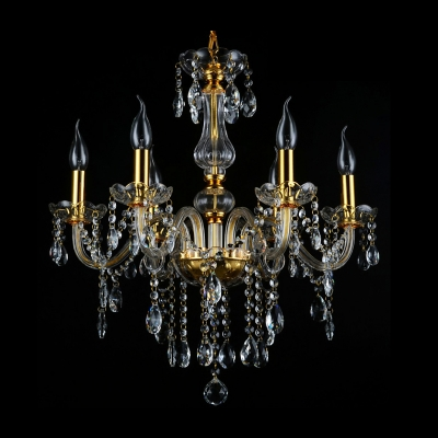 Breathtaking Six Lights Crystal Style Chandelier Shine with Dainty Crystal Droplets